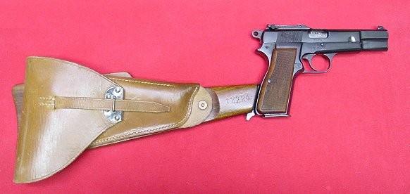 BROWNING HI-POWER with shoulder stock. Best handgun for self defense