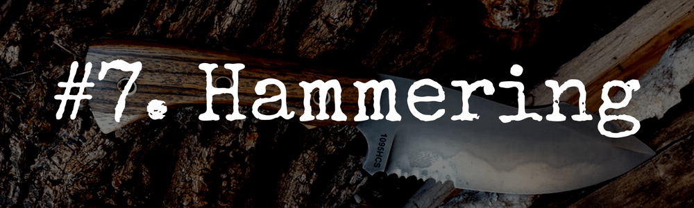 Hammering with a survival knife