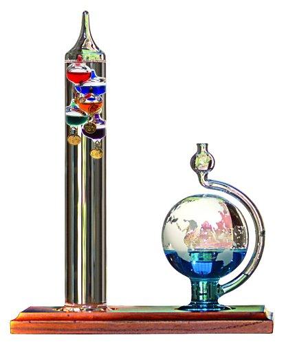 Galileo Thermometer with Glass Globe Barometer