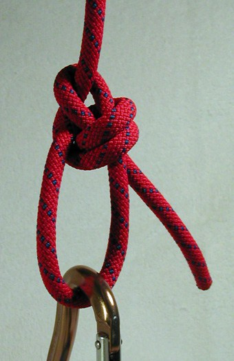 Double Bowline Knot in Carabiner for Rock Climbing