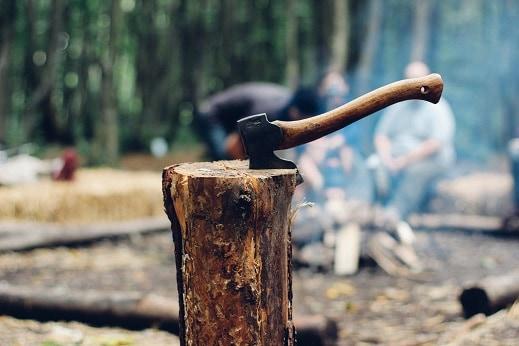 Best Campfire Building Method Safety Axe Stump