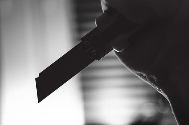Knife Fighting Self Defense Attacker with Box Cutter