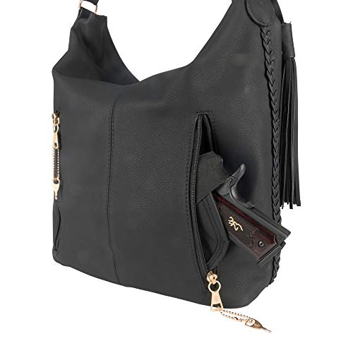 concealed carry purse with zipper lock and right or left hand access off body carry