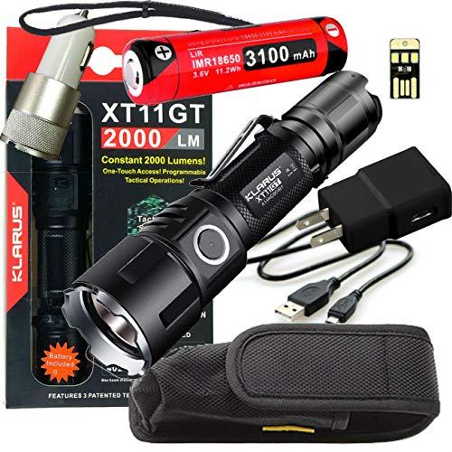 klarus xt11gt sale bundle with car USB charging cords and 18650 battery