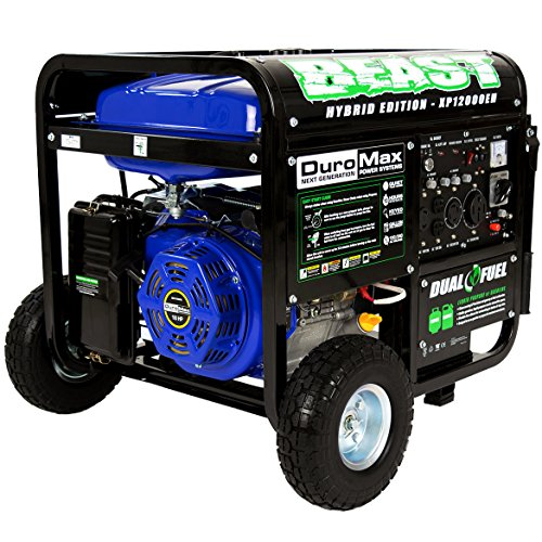 DuroMax XP12000EH hybrid dual fuel generator runs on gasoline and diesel for emergency electricity power