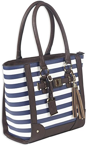 Bulldog Cases Carry Tote Style Purse with Holster blue and white stripes fashionable bag