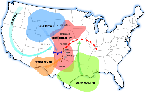 Tornado Alley Map NOAA bad weather system which states are hit by tornadoes most often