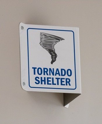 tornado shelter warning sign public buildings safe areas
