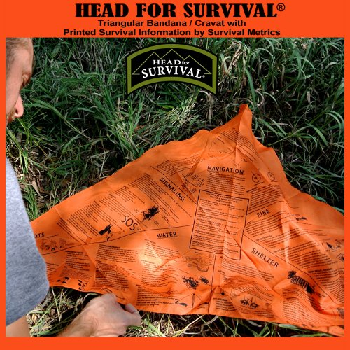 head for survival metrics blaze orange bandana with navigation water fire sos information