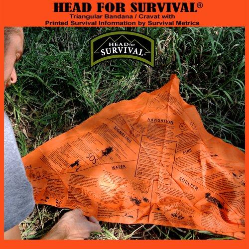 head for survival metrics blaze orange bandana with navigation water fire sos information
