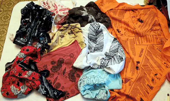 Collection of survival and fashion bandanas
