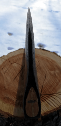 deeply convex axe for chopping hardwood and splitting firewood