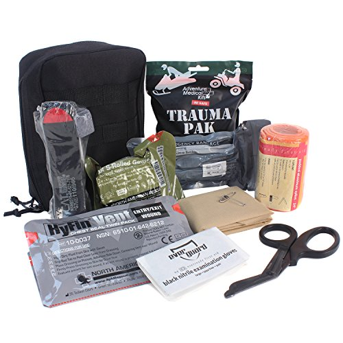 A trauma first aid kit is indispensible and can fit in your bugout bag or vehicle