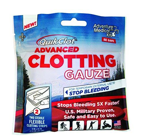 QuikClot advanced hemostatic clotting gauze to stop bleeding