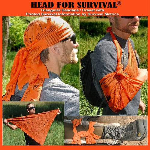 Head for survival metrics bandana cravat survival information emergency tool