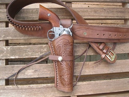 Shotgun Lilli Gun Belt brown tooled leather with holster